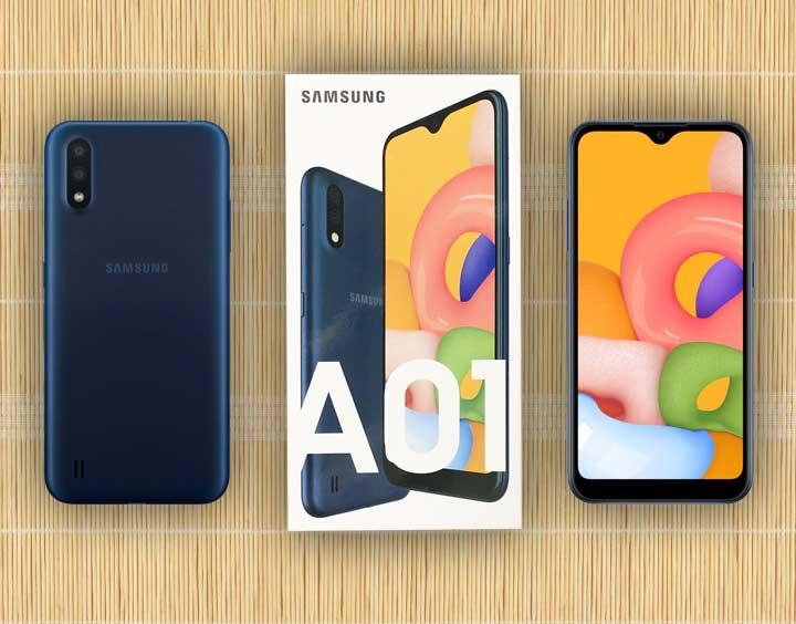 محتویات درون جعبه گوشی موبایل سامسونگ Samsung Galaxy A01