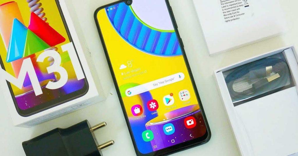 محتویات درون جعبه گوشی موبایل سامسونگ Samsung Galaxy M31
